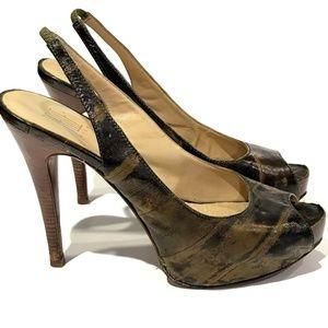 Pelle Moda 10 M Heels Brown Olive Green Platform